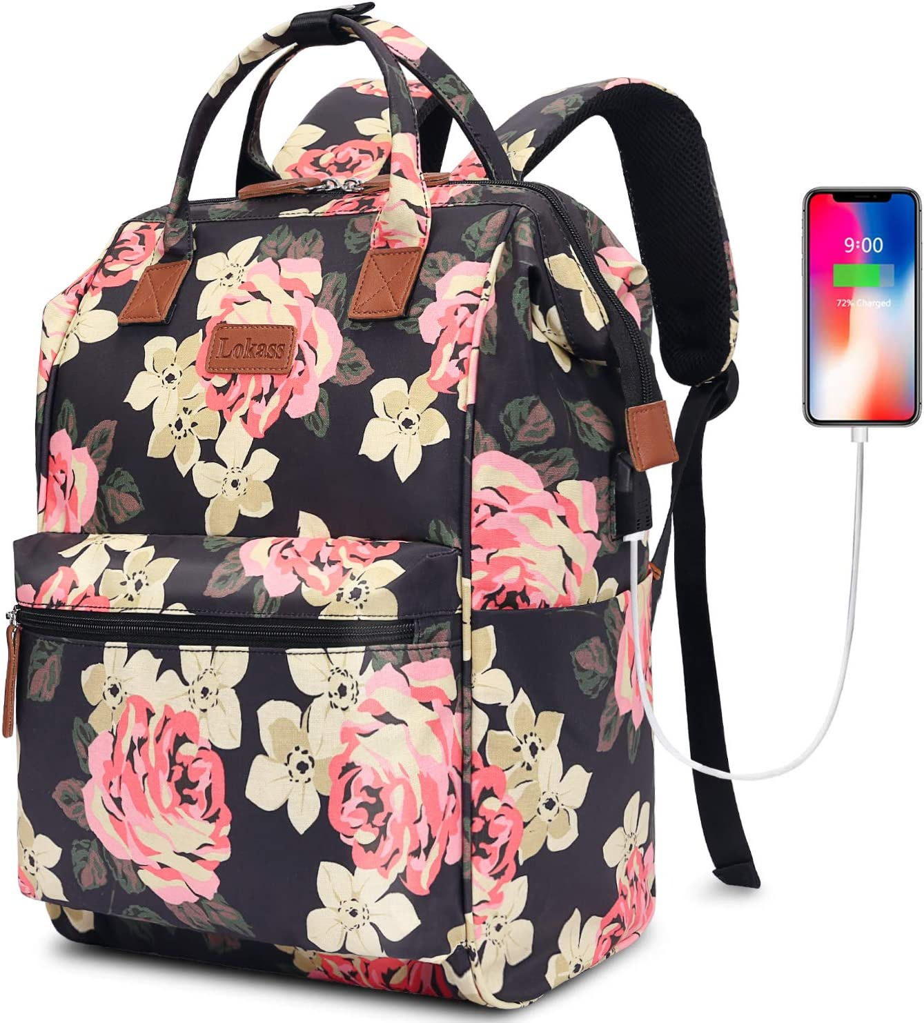 BRINCH Laptop Backpack 15.6 Inch Wide Open Computer Laptop Bag College Rucksack Water Resistant Business Travel Backpack Multipurpose Daypack with USB Charging Port for Women Girls,Peony-Dark Blue