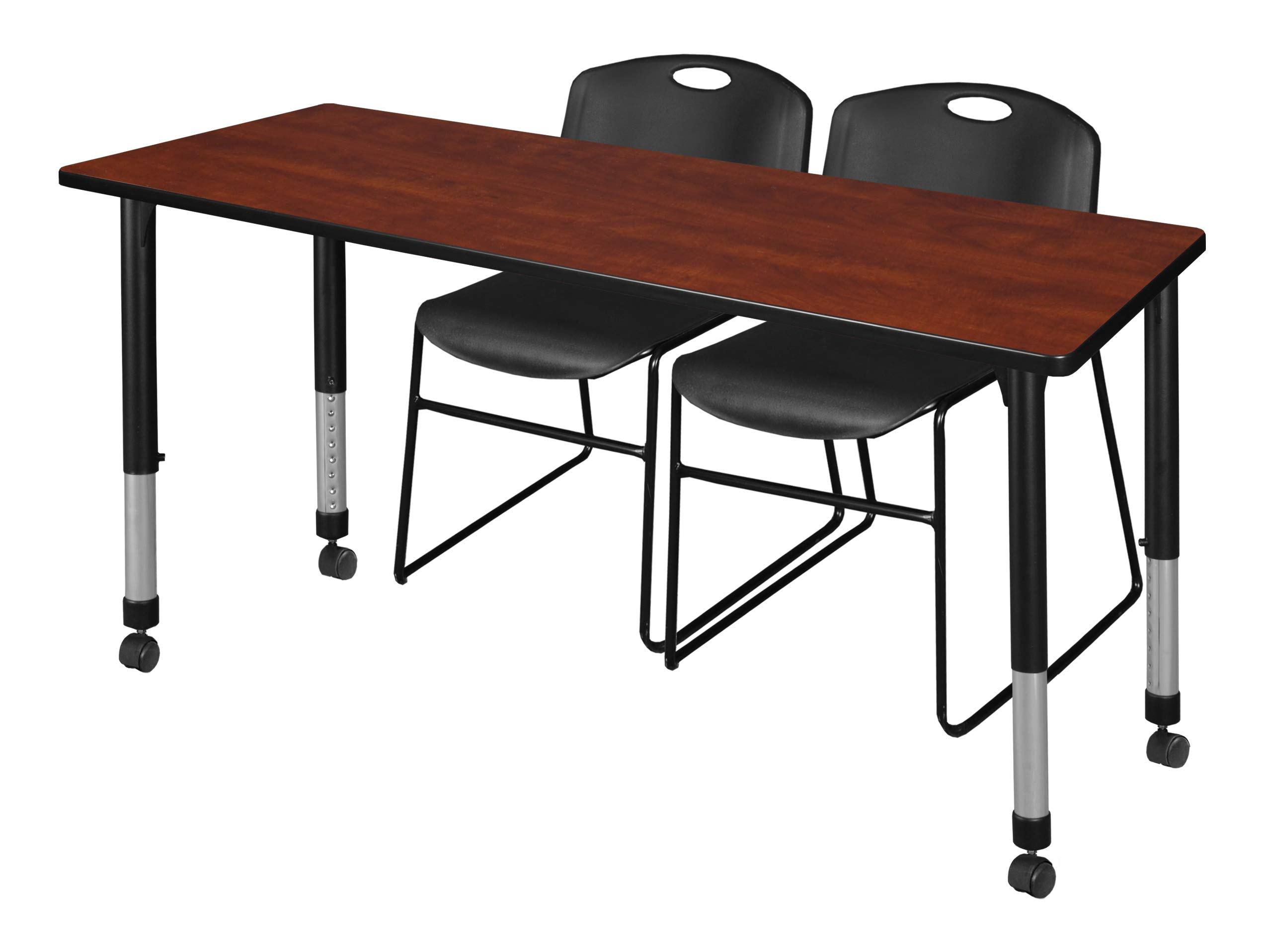 Regency MT6630CHAPCBK44BK Kee Height Adjustable Mobile Classroom Table Set with Two Zeng Chairs, 66'' x 30'', Cherry/Black