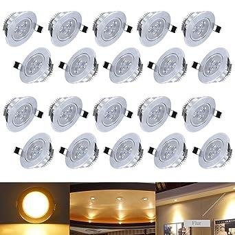 HengdaR 20X 3W Warmweiss LED Decken Einbaustrahler Fr Badezimmer Wohnzimmer Kche Spot Leuchte Lampe Set