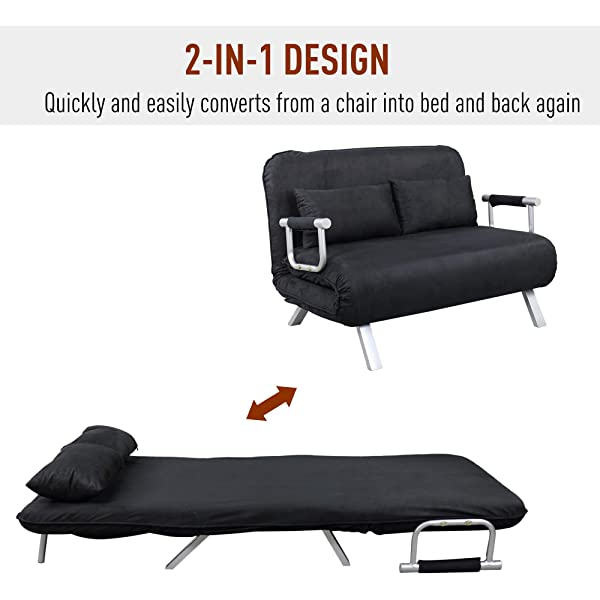 HOMCOM Full Size Folding 5 Position Steel Convertible Sleeper Bed Chair- Black