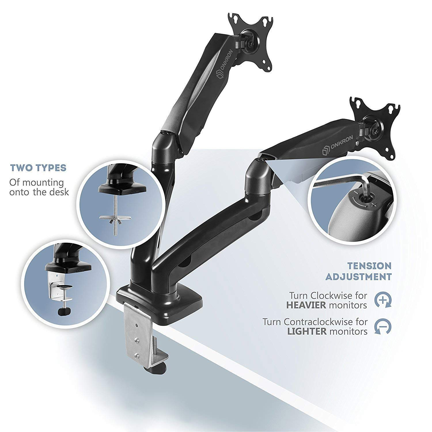 ONKRON Dual Monitor Desk Mount for 13 to 27-Inch LCD LED Computer TV Screens up to 14.3 lbs G160 by ONKRON (Image #3)
