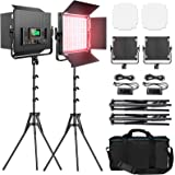 RGB Led Photography Lighting, Pixel 2 Packs Full Color Led Video Light, 552PCS LED Beads 45W/CRI 97/2600K-10000K/9 Applicable