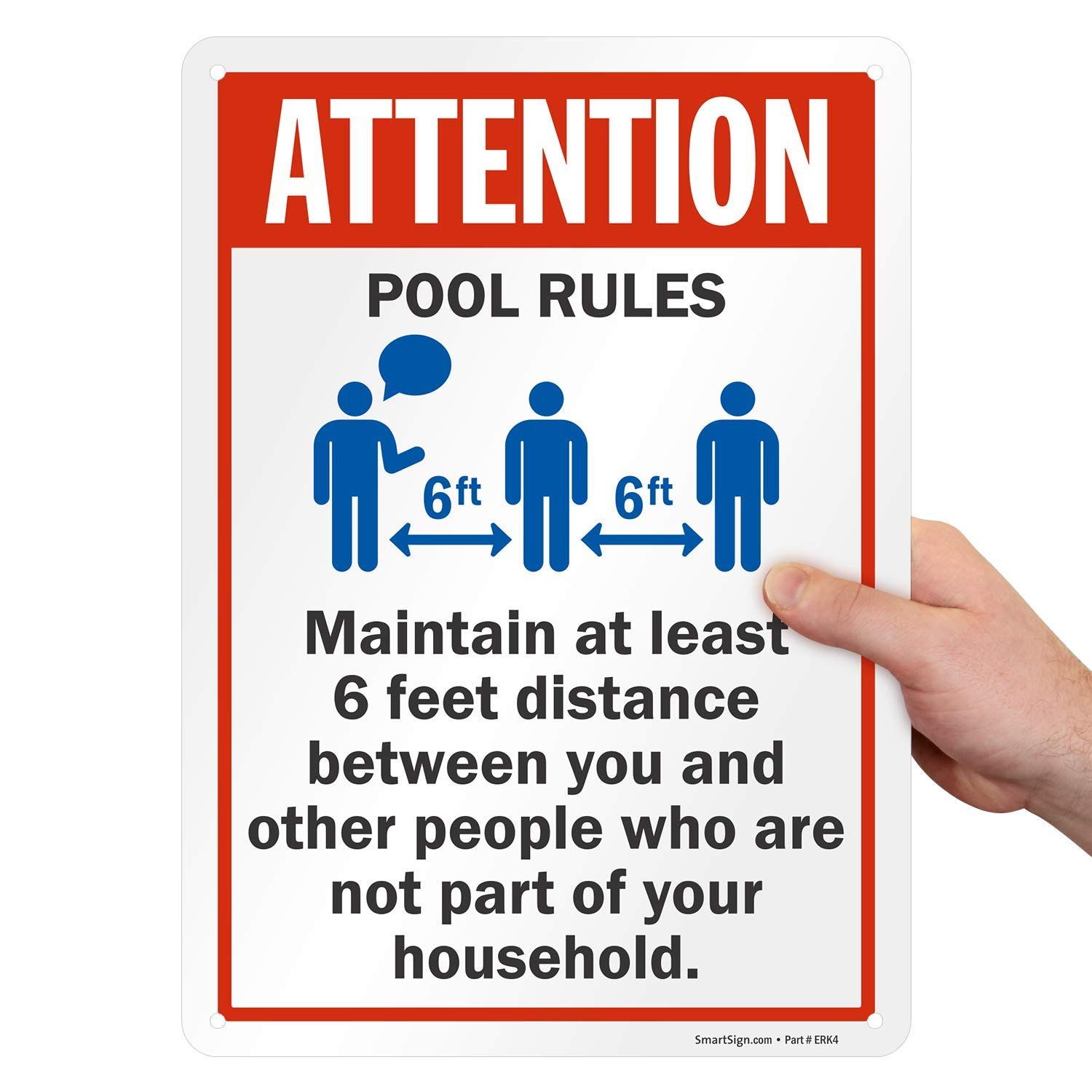 """SmartSign /""""Attention 10 x 14 Aluminum Maintain at Least 6 Feet Distance/"""" Sign Pool Rules"""