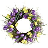 Purple and Yellow Tulip Wreath Door Decor
