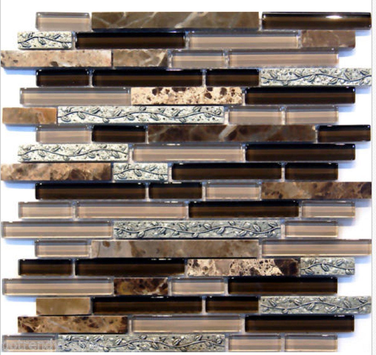 USA Premium Store 10-SF Leaf Insert Dark Emperador Crystal Glass Blend Mosaic Tile Backsplash Spa