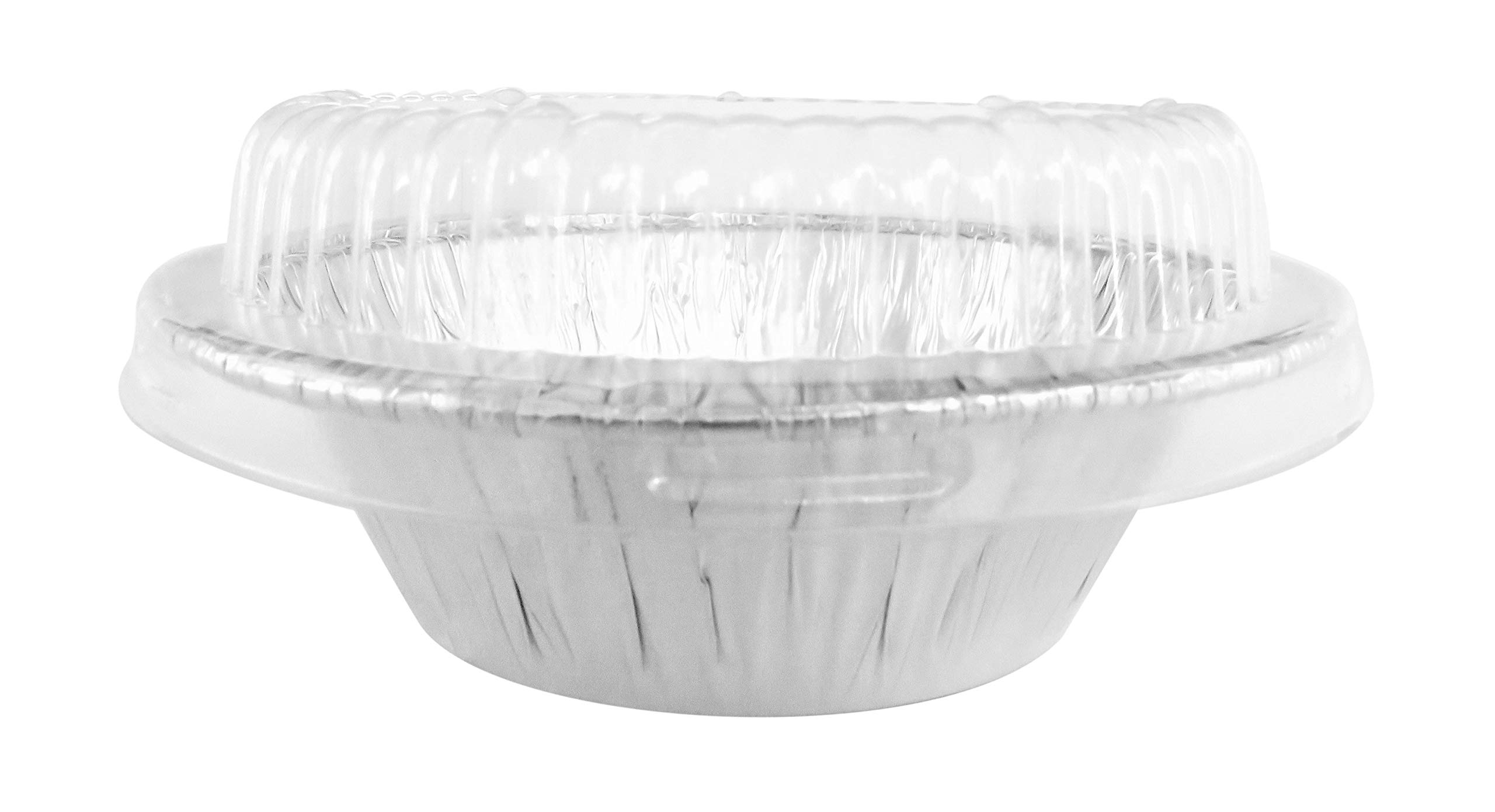Disposable Aluminum 4'' Deep Mini Pie/Tart Pan with Clear Dome Lids 1152P (200)