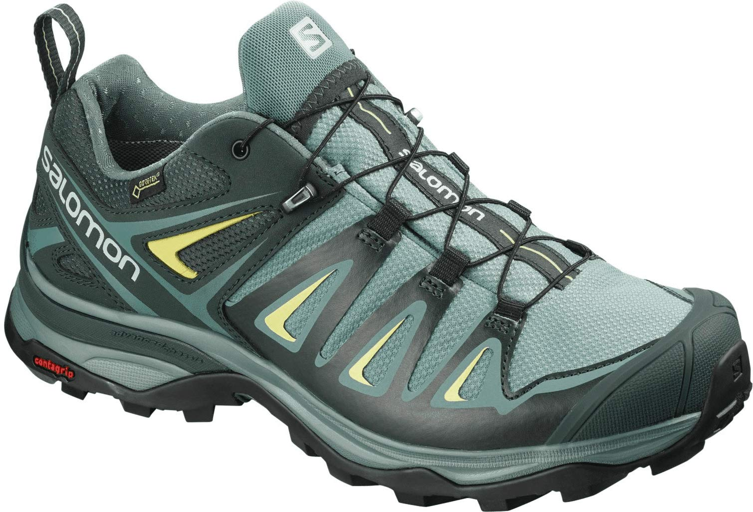 Salomon Women's X Ultra 3 GTX Hiking Shoes, ARTIC/Darkest Spruce/Sunny Lime, 8.5 by SALOMON