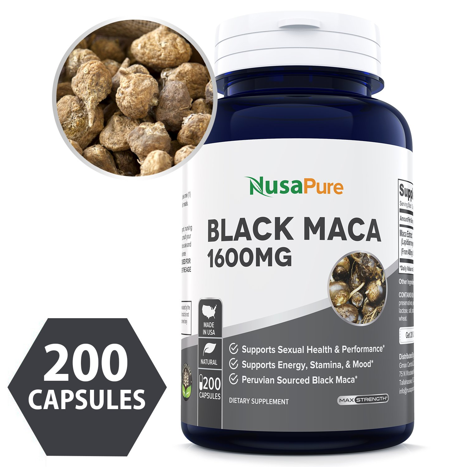 Best Black Maca Root 1600mg 200 Capsules (Non-GMO & Gluten Free) Max Strength - Maca Root Extract Supplement from Peru - Support Reproductive Health - 100% Money Back Guarantee - Order Risk Free! by NusaPure (Image #1)