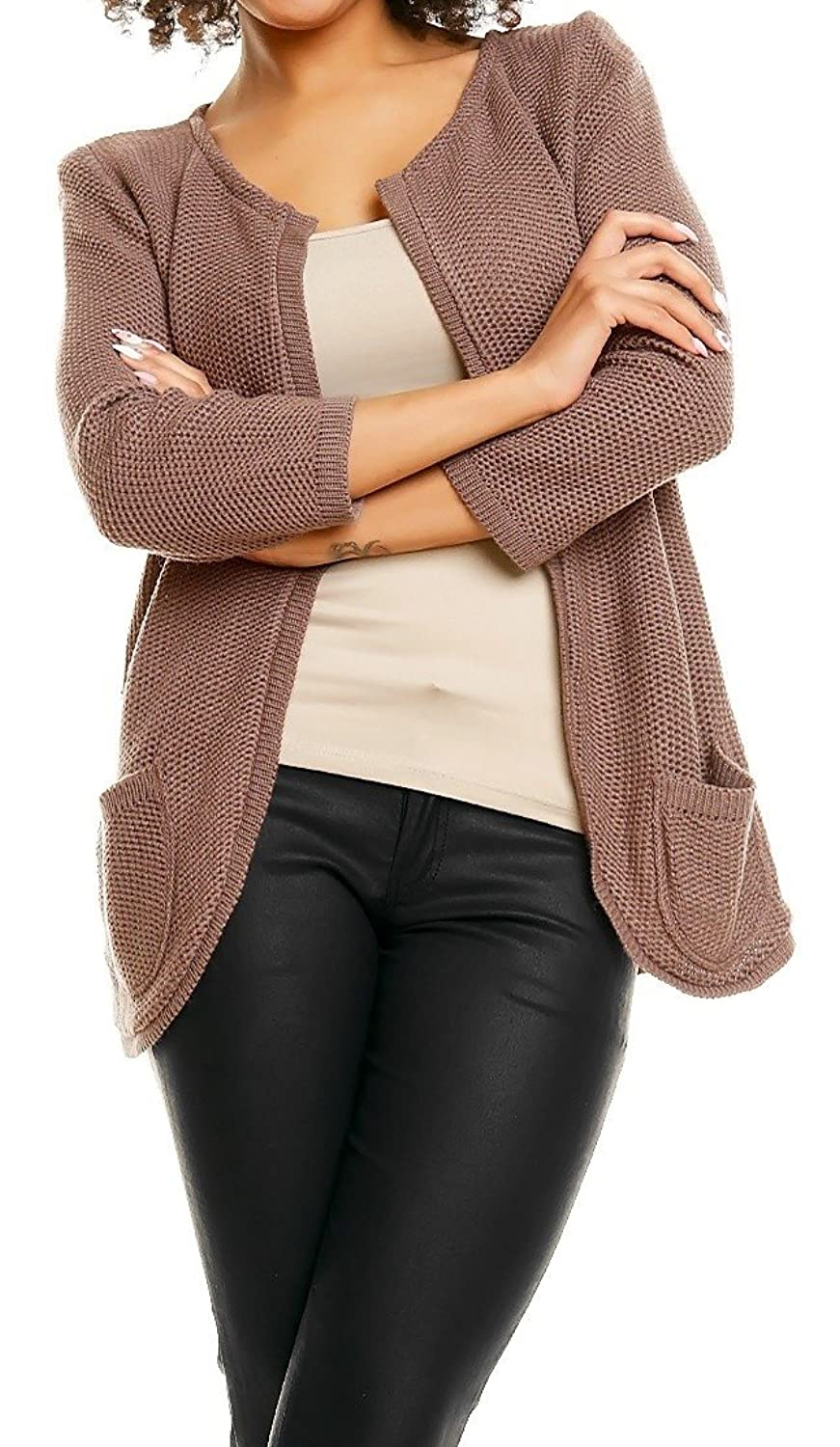 Zeta Ville - Womens Knitted Short Cardigan Cardi Pockets - Long Sleeves - 425z