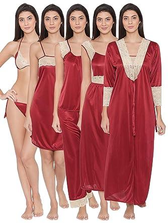 a1c098d80e Clovia Women s 7 Pc Satin Nightwear Set (NS0564P09 Red Free Size ...