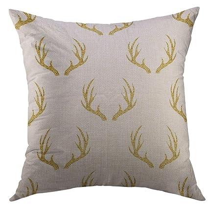Mugod Pillow Case Moose Silver Deer Gold Glitter Antler Pattern on White  Head Horn Abstract Animal 364e95dbb9