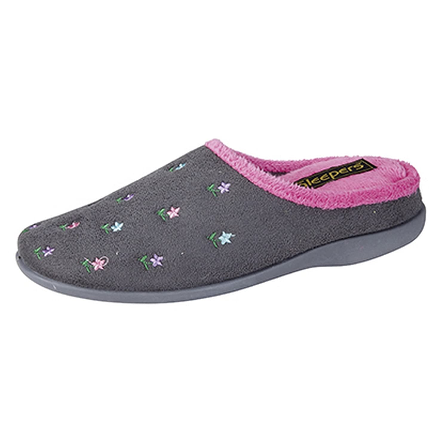 Amazon.com | Sleepers Womens/Ladies Isabella Floral Memory Foam Mule Slippers | Slippers
