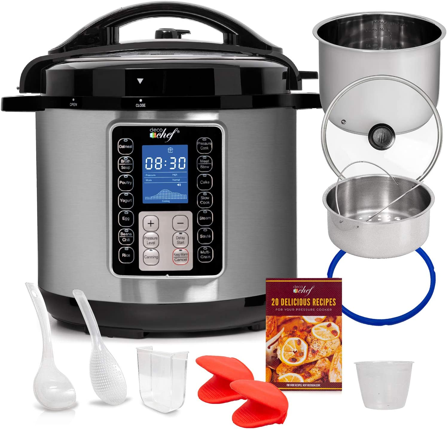Deco Chef 8 QT 10-in-1 Pressure Cooker – Instant Rice, Saute, Slow Cook, Yogurt, Meats, Desserts, Soups, Stews – Includes Recipe Book, Tempered Glass Lid, Mitts, Grill Rack, and Steaming Basket (Stainless Steel)
