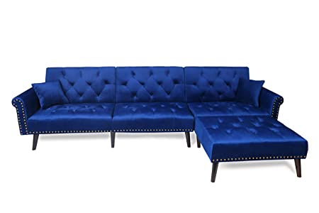 Harper Bright Designs Sofa Bed Set Sectional Sofa Living Room Furniture Sofa Set Sleeper Couch Bed Modern Contemporary Upholstered with Extra Wide Chaise Lounge Navy Blue