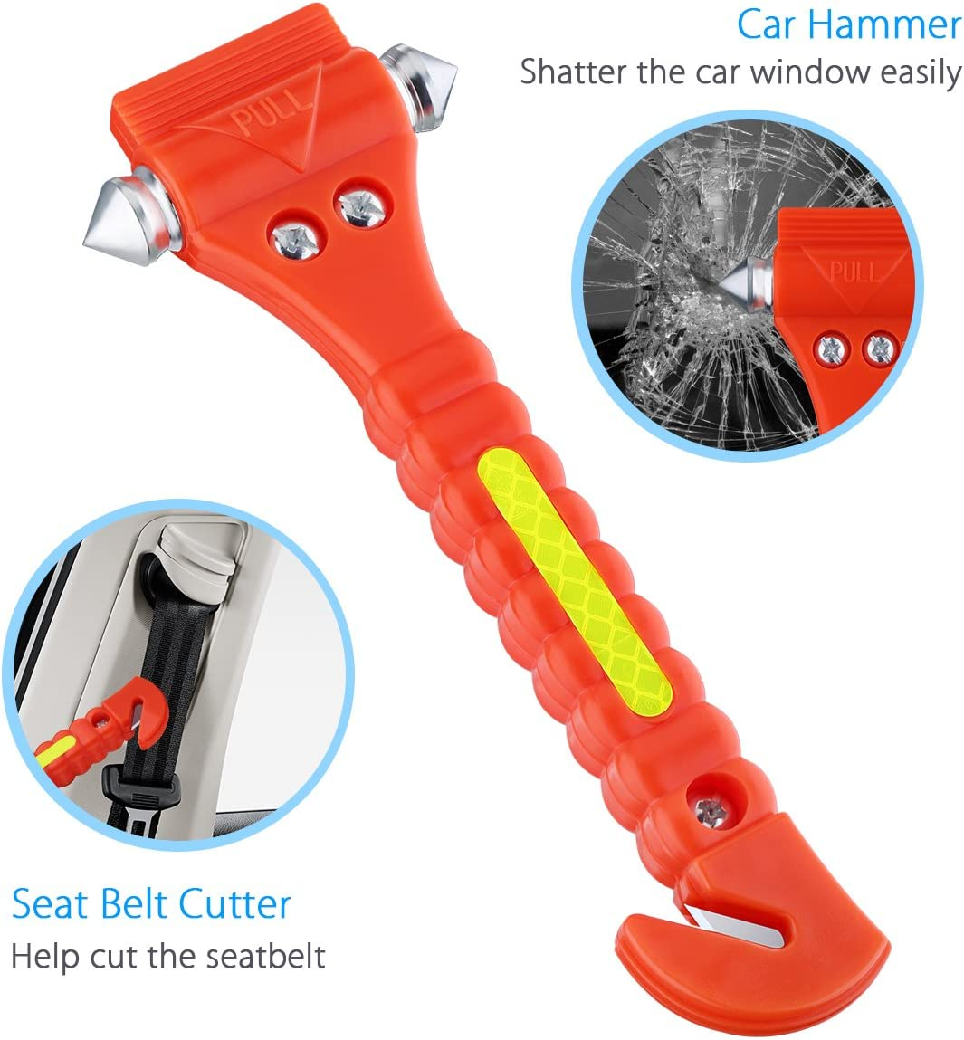 STA Car Emergency Tool,Hardened Steel Car Window Breaker Hammer,Personal Safety Tool,Quick Response Emergency Tool,Self Defence Tool Seat Belt Cutter Black