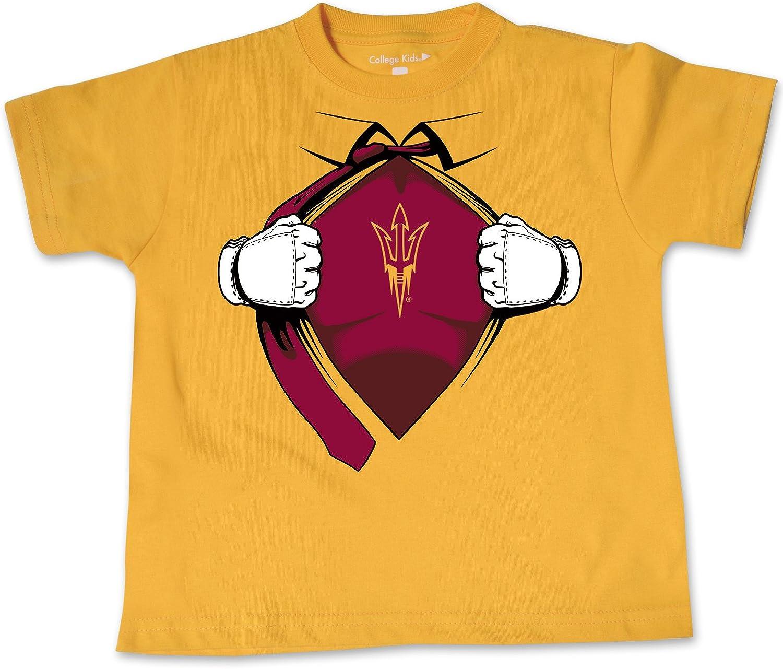 College Kids NCAA Arizona State Sun Devils Children Short Sleeve Toddler Tee Superhero Sports Fan T Shirt Athletic Gold 4