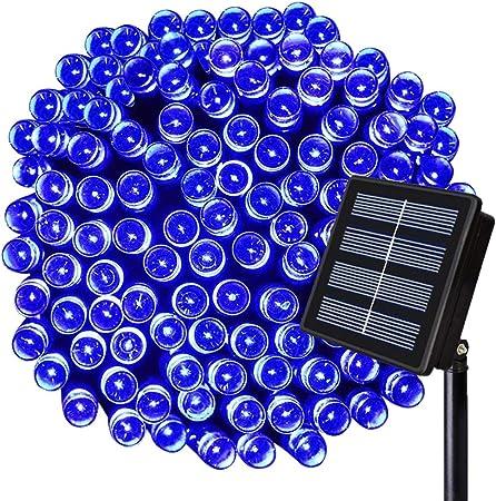 Whengx Luces de Cuerda Solar, Luces de Tira de Hadas solares, Luces solares Exteriores Impermeables de 8 Funciones para Navidad, hogar, jardín, Patio, árbol, Fiesta, decoración,Blue,17m100LED: Amazon.es: Hogar