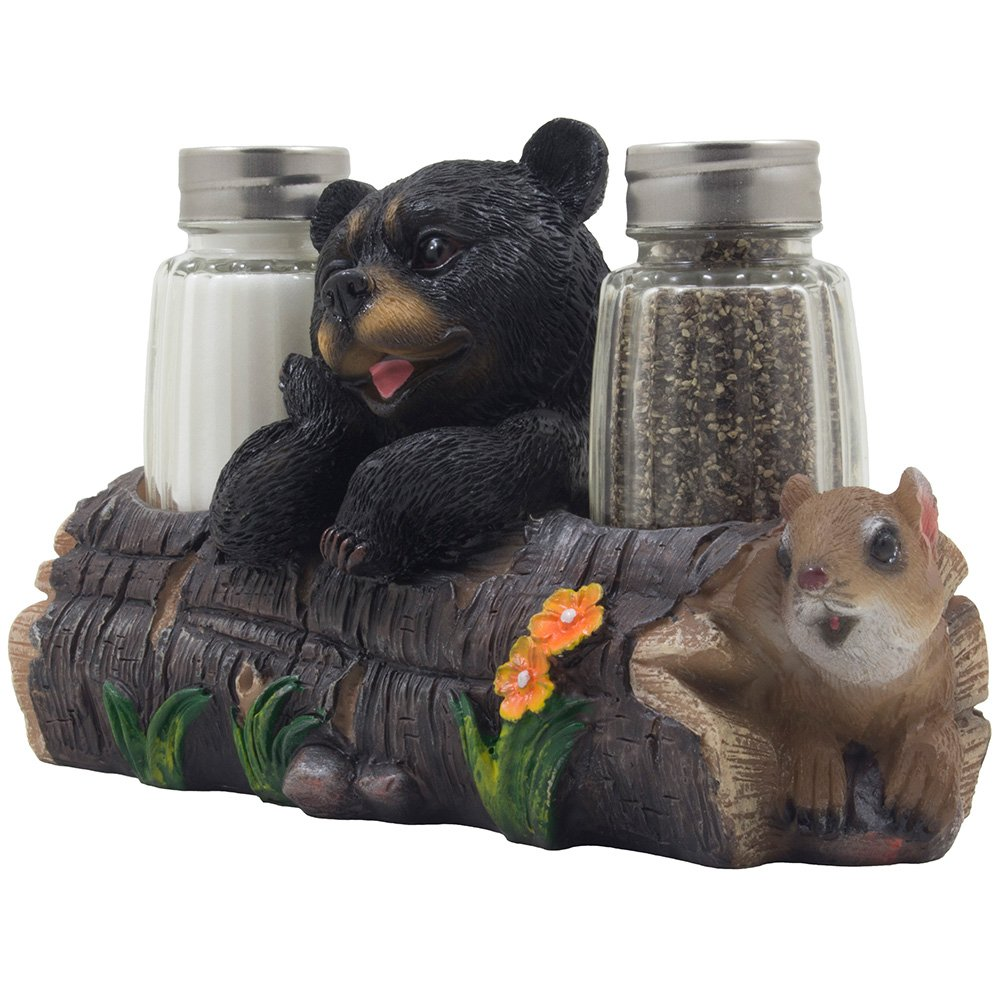 Decorative Black Bear and Squirrel Friend on Log Salt & Pepper Shaker Set Figurine Display Stand in Rustic Lodge Table Decorations or Cabin Kitchen Decor Sculptures As Gifts for Friends
