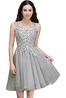 MisShow Damen Prinzessin V-Ausschnitt Tüll Cocktailkleid Applique Ballkleid  Abendkleid Rückenfrei Knielang Gr.32 8579f950d1