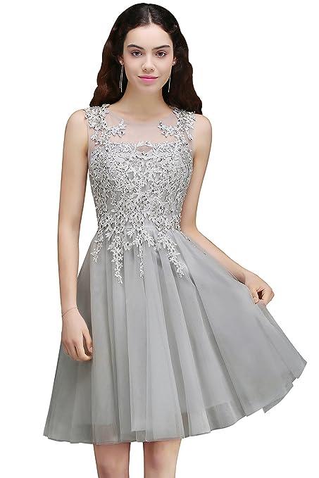 MisShow Damen Prinzessin V-Ausschnitt Tüll Cocktailkleid Applique Ballkleid Abendkleid Rückenfrei Knielang Gr.32-46