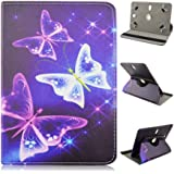 """Trio Pro 7 Elite 7"""" inch Tablet Neon Colors Butterflies on Blue Universal Case Cover - Adjustable 360 Rotating Stand Design"""
