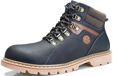855e034393d DAYISS Homme Cuir Bottines pour Femme Bottines Ankle Boots Chaussures  D hiver Chaussures Noir -