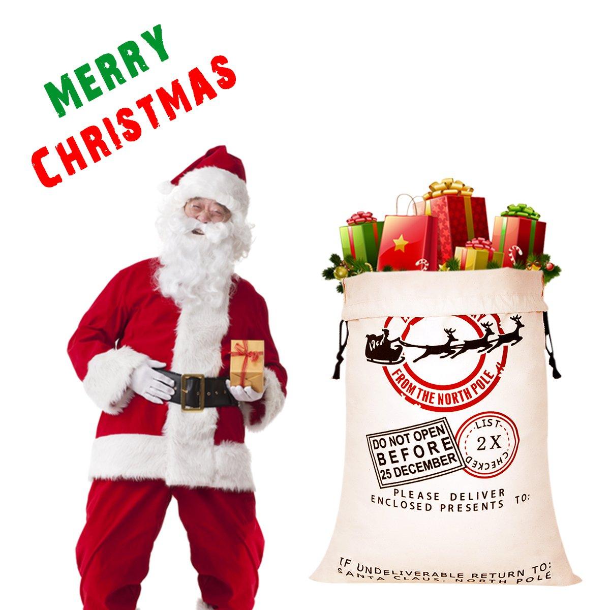 Amazon.com: Personalized Santa Sack, HBlife Christmas Gift Bag Santa ...