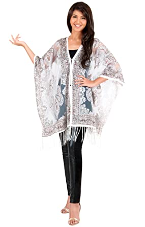 3096b40ab21 KOH KOH Plus Size Womens See Through Sexy Printed Poncho Top V-Neck Blouse  With Fringe Floral Sweet Tee ...