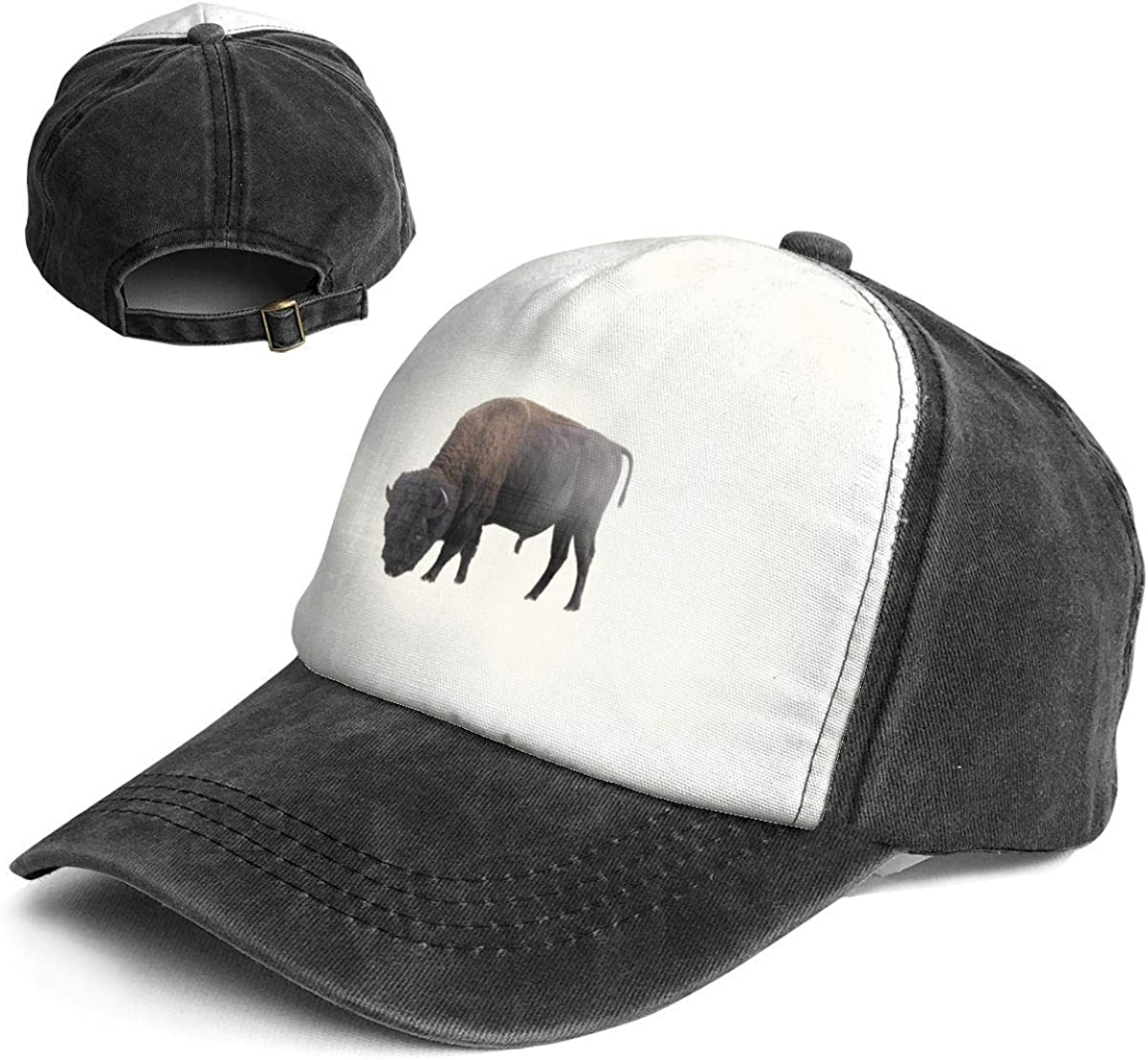 Cool American Bison Trend Printing Cowboy Hat Fashion Baseball Cap for Men and Women