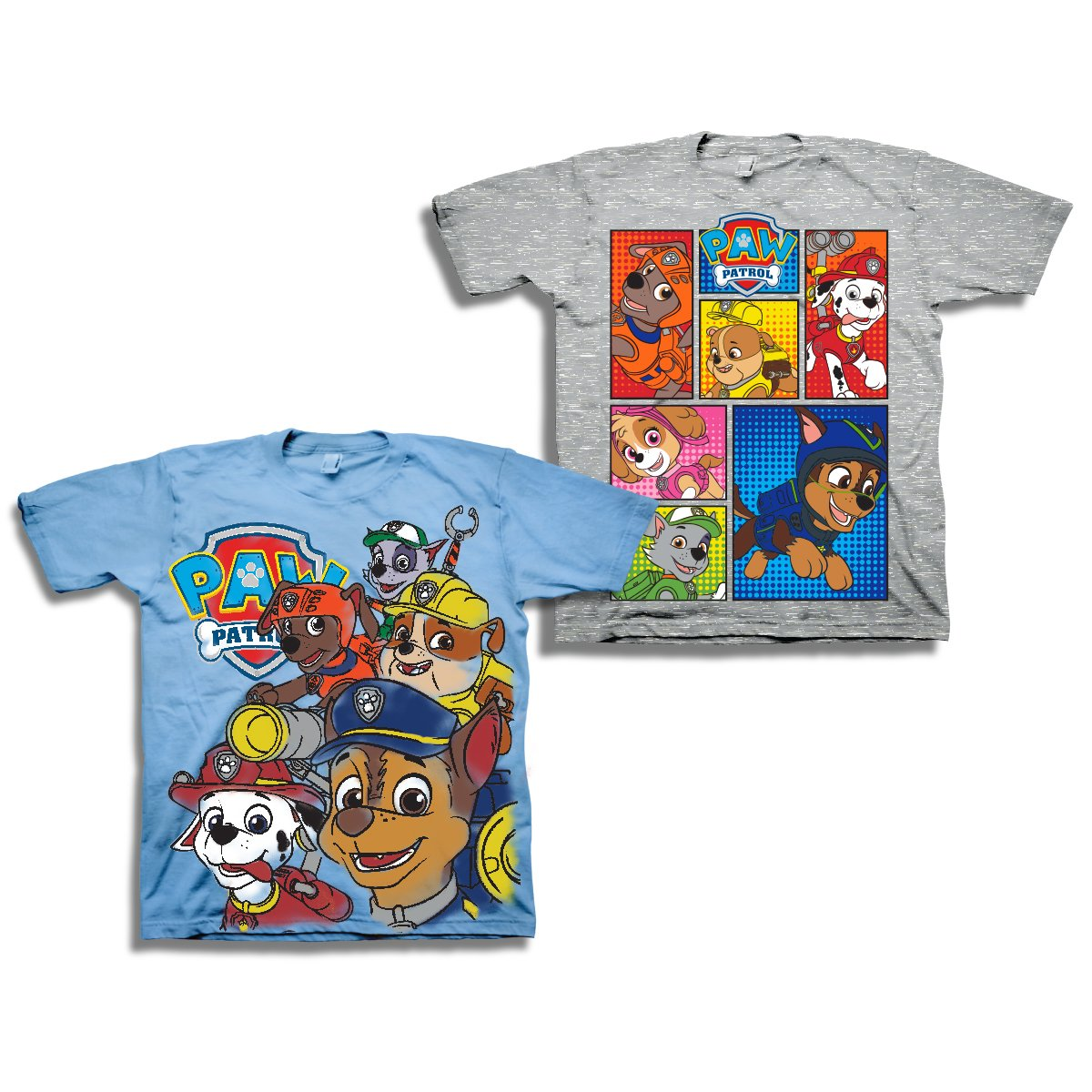 PAW Patrol Short Sleeve T-Shirt - 2 Pack of PAW Patrol T-Shirts (Blue/Grey, 4T)