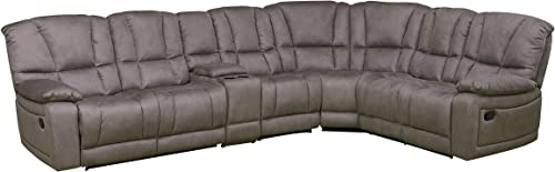 Betsy Furniture Large Microfiber Reclining Sectional Living Room Sofa in Grey 8019