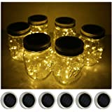 6 Pack Mason Jar Lights 10 LED Solar Warm White Fairy String Lights Lids Insert for Patio Yard Garden Party Wedding…