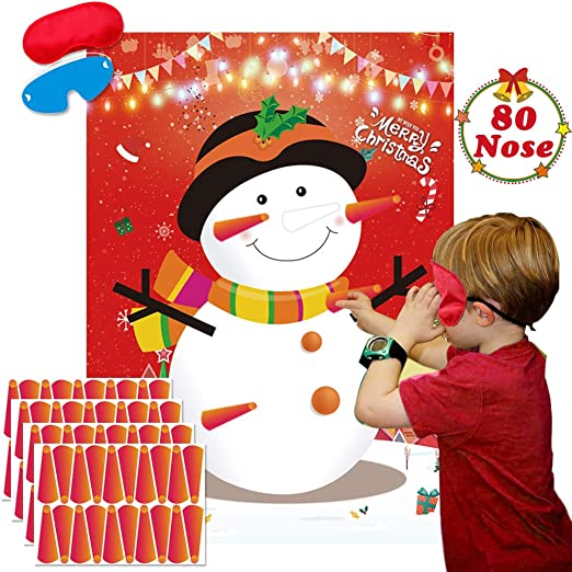 Christmas Pin The Nose on The Snowman Party Game
