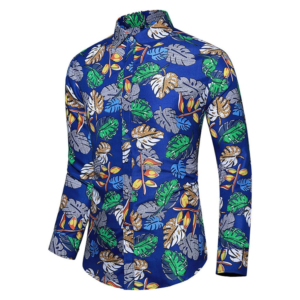 Benficial Blouse for Men,Men Casual Summer Printed Button Long Sleeve Hawaiian T-Shirt Top Blouse 2019 New by Benficial