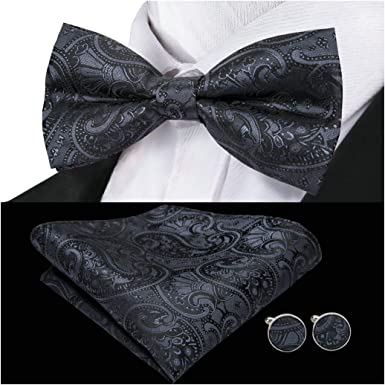 Mens Luxury Black Paisley Tie Set Including Bow Tie Cufflink and Pocket Square