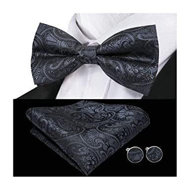e73d5996332a Wang Mens Designer Solid Black Bow Tie Set Silk Bowtie Pocket Square  Cufflinks