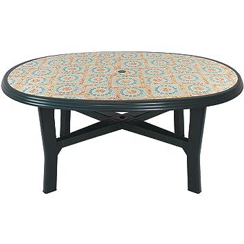 Robuster Gartentisch 165x110cm Oval Tischplatte Mit Fliesen Mosaik