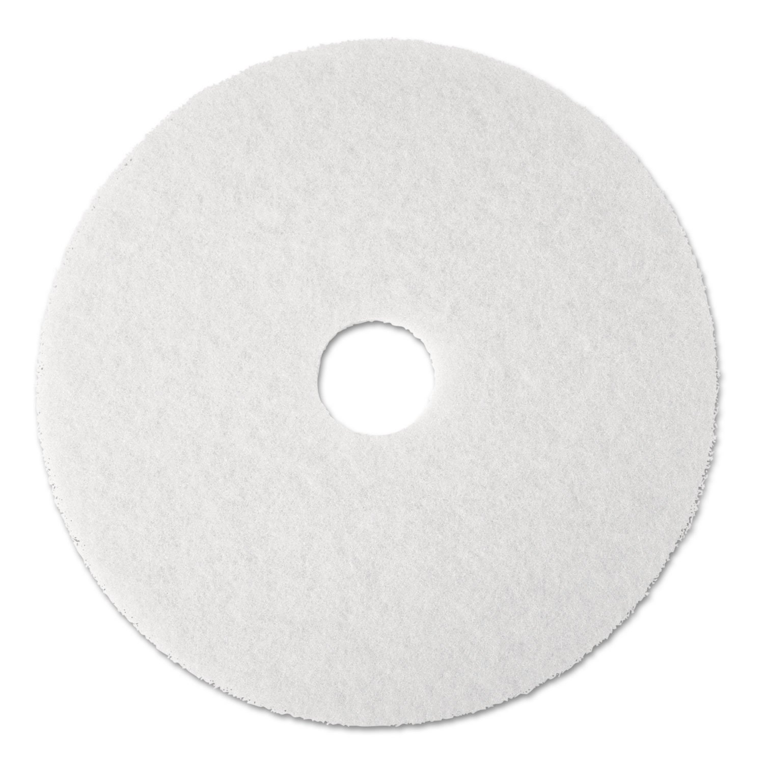 3M Low Speed White Super Polishing Floor Pad 4100 - Round, 12 inch Diameter, 1 inch Thick, Perforated Center Hole, To Buff Very Soft Finish Or Polish Soft Wax On Wood Floor - 5 per case.