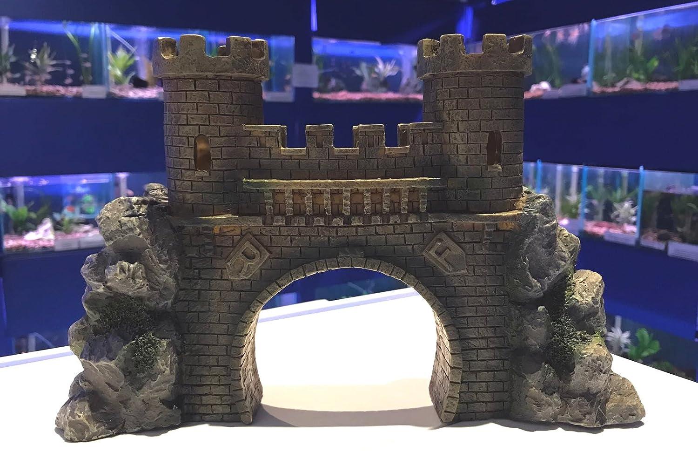 Mezzaluna Gifts Gran puente de castillo con torretas para acuario, pecera, adorno: Amazon.es: Productos para mascotas
