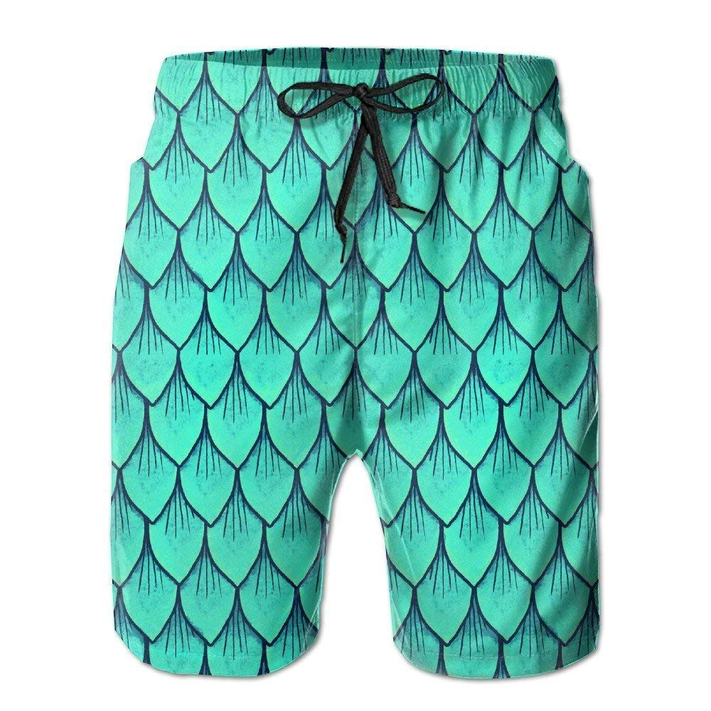 SINOVAL Mens Dragon Scale in Shiny Blue Quick Dry Summer Beach Surfing Board Shorts Swim Pants Cargo Shorts