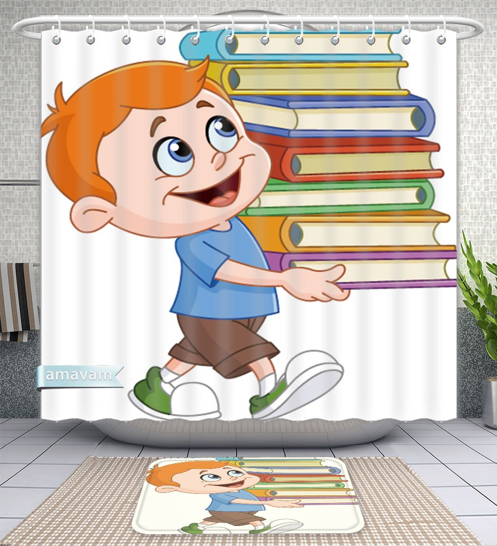 Unique Custom Bathroom 2-Piece Set Young Boy Walking And Carrying A Tall And Heavy Stack Of School Books Shower Curtains And Bath Mats Set, 66''Wx72''H & 23''Wx16''H