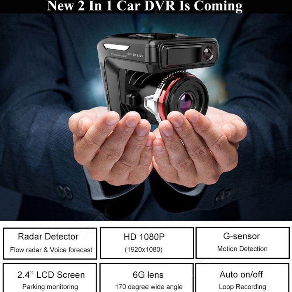 ZHUOTOP - Cámara de vídeo para coche (2,4 pulgadas, HD, 1080P, DVR, detector de velocidad de radar): Amazon.es: Coche y moto