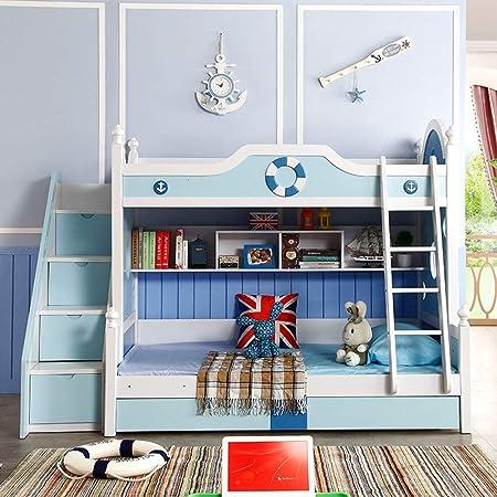 DZWJ Literas de Madera Maciza con Escalera y barandilla, Tiene estanterías y Cajas de Almacenamiento, Azul + Blanco: Amazon.es: Hogar