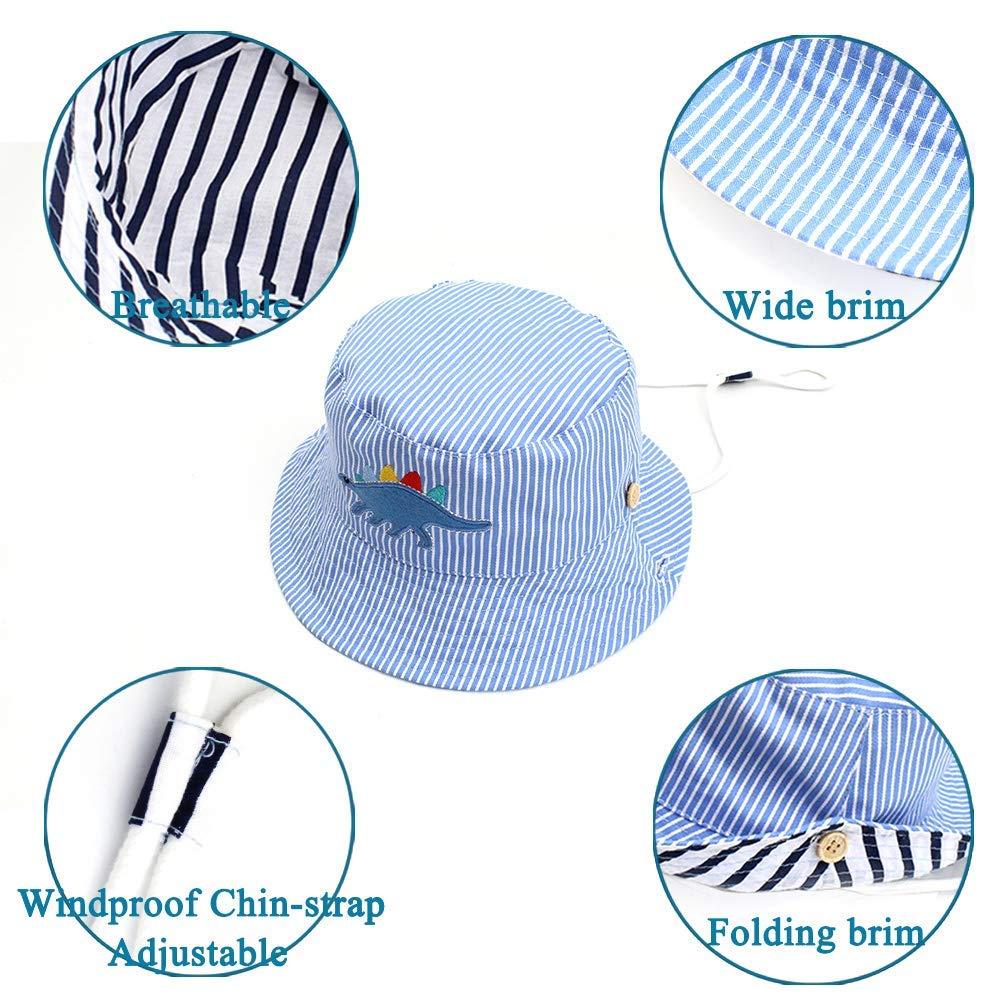 Cappello da Benna Pieghevole Cappello da Pescatore a Tesa Larga per Ragazzi e Ragazze con Ricamo di Dinosauri a Strisce Gifts Treat Cappello da Sole per Bambini