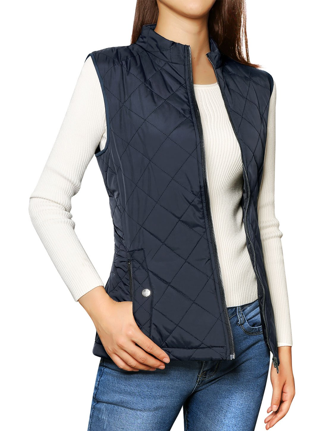 Allegra K Women's Stand Collar Lightweight Gilet Quilted Zip Vest Dark Blue L (US 14)