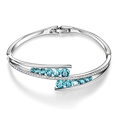 Valentines Gifts Menton Ezil U0026quot;Love Encounteru0026quot; Sapphire Blue  Swarovski Bracelets Woman Bangle 7u0026quot