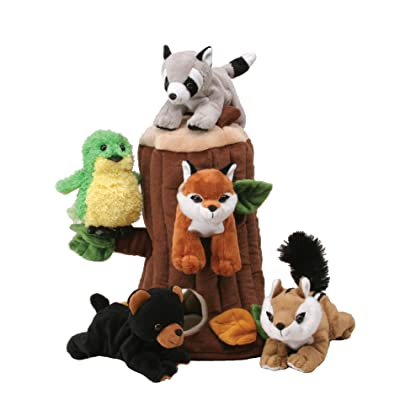 Plush Treehouse with Animals - Five (5) Stuffed Forest Animals: Toys & Games [5Bkhe1102528]