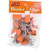 JAM PAPER Colorful Binder Clips - Medium - 1 1/4 Inch (32 mm) - Orange Binderclips - 15/Pack