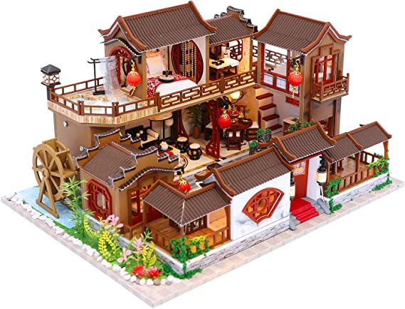 HEYANG DIY Chinese Style Ancient Shop Building 3D Mini Wooden House Handmade Dollhouse Assembly with LED Light Gift Cart Dining Car