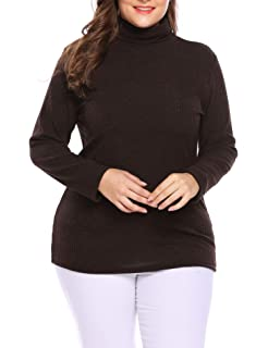 d2b8b1b6d3b IN VOLAND Women s Plus Size Turtleneck Sweater Pullover Stretch Knit Tunic  Long Sleeve Slim Sweater